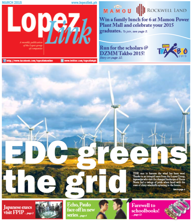 March 2015: Energy Development Corporation greens the grid